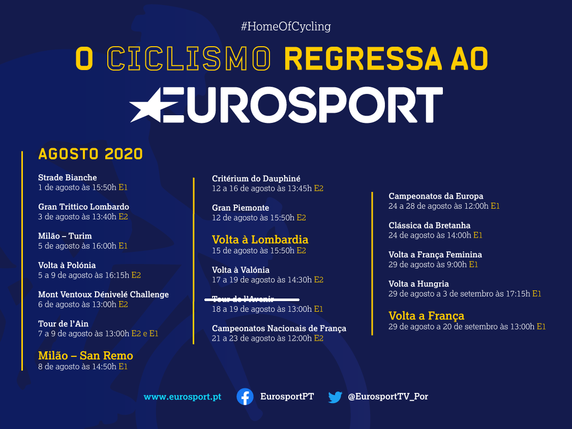 Muito ciclismo na Eurosport em Agosto!